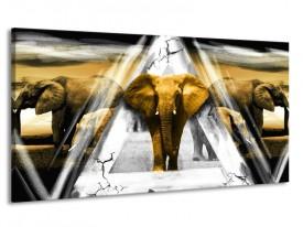 Canvas schilderij Olifant | Geel, Wit, Grijs | 170x90cm 1Luik