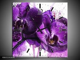 Wandklok op Canvas Orchidee   Kleur: Paars, Wit, Zwart   F003113C