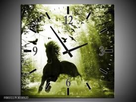 Wandklok op Glas Paard | Kleur: Groen, Zwart, Wit | F003117CGD