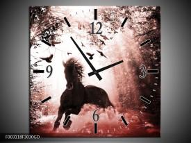 Wandklok op Glas Paard | Kleur: Rood, Zwart, Wit | F003118CGD