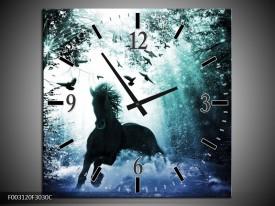 Wandklok op Canvas Paard | Kleur: Blauw, Zwart, Wit | F003120C