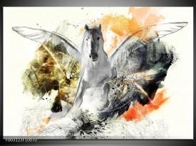 Foto canvas schilderij Paard | Wit, Oranje, Grijs