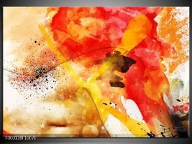Glas schilderij Abstract | Rood, Geel, Wit