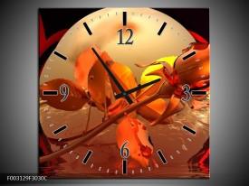 Wandklok op Canvas Roos | Kleur: Rood, Goud, Geel | F003129C