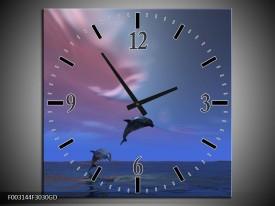 Wandklok op Glas Dolfijn | Kleur: Blauw, Paars, Grijs | F003144CGD