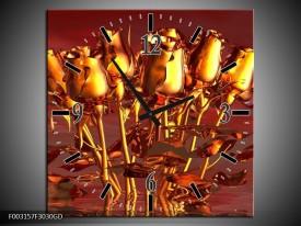 Wandklok op Glas Roos | Kleur: Goud, Geel, Rood | F003157CGD