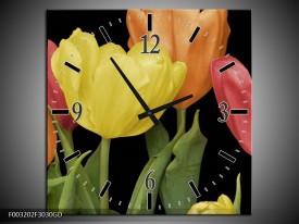 Wandklok op Glas Tulpen | Kleur: Geel, Oranje, Rood | F003202CGD