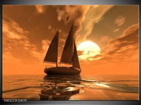 Foto canvas schilderij Zeilboot | Bruin, Geel, Grijs