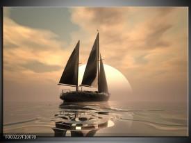 Foto canvas schilderij Zeilboot | Wit, Grijs, Bruin