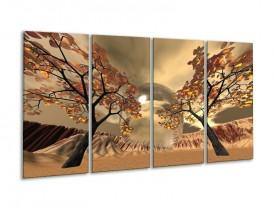 Canvas schilderij Natuur | Bruin, Goud, Wit | 160x80cm 4Luik