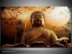 Canvas ART schilderij Boeddha | Bruin, Grijs, Wit | 120x70cm 1Luik