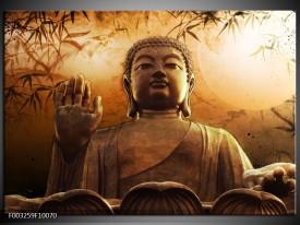 Glas schilderij Boeddha | Bruin, Grijs, Wit