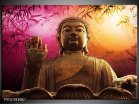 Foto canvas schilderij Boeddha | Paars, Bruin, Wit