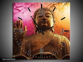 Wandklok op Canvas Boeddha | Kleur: Paars, Bruin, Wit | F003260C