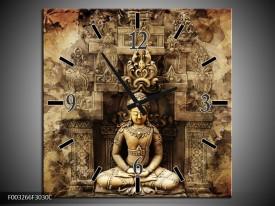 Wandklok op Canvas Boeddha   Kleur: Grijs, Bruin   F003266C