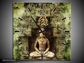 Wandklok op Canvas Boeddha   Kleur: Groen, Bruin   F003267C