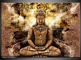 Foto canvas schilderij Boeddha | Bruin, Wit, Geel