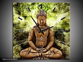 Wandklok op Glas Boeddha | Kleur: Groen, Bruin | F003271CGD
