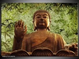 Foto canvas schilderij Boeddha | Groen, Bruin