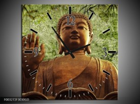 Wandklok op Glas Boeddha | Kleur: Groen, Bruin | F003272CGD