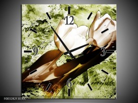 Wandklok op Canvas Tulpen | Kleur: Groen, Bruin, Wit | F003282C
