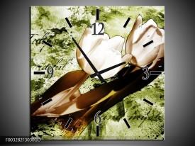Wandklok op Glas Tulpen | Kleur: Groen, Bruin, Wit | F003282CGD