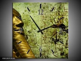 Wandklok op Canvas Egypte   Kleur: Groen, Goud, Grijs   F003287C