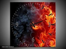 Wandklok op Glas Bloem | Kleur: Rood, Zwart, Geel | F003290CGD