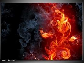 Glas schilderij Bloem | Rood, Zwart, Geel