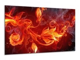 Canvas schilderij Bloem | Rood, Zwart, Geel | 120x70cm 1Luik