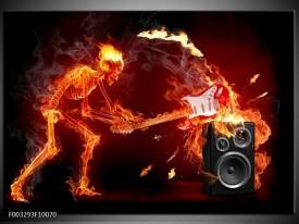 Foto canvas schilderij Muziek | Rood, Zwart, Geel