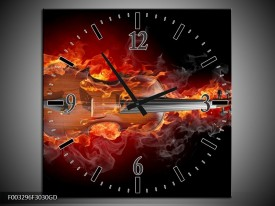 Wandklok op Glas Gitaar | Kleur: Rood, Zwart, Geel | F003296CGD