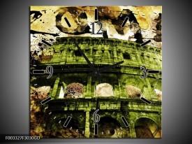 Wandklok op Glas Rome | Kleur: Groen, Bruin | F003327CGD