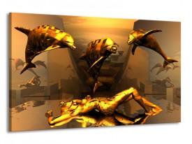 Glas schilderij Dolfijn | Goud, Geel, Bruin | 120x70cm 1Luik