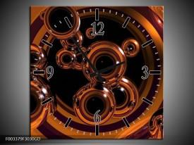 Wandklok op Glas Abstract | Kleur: Bruin, Goud, Paars | F003379CGD