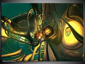 Foto canvas schilderij Abstract | Groen, Geel, Goud