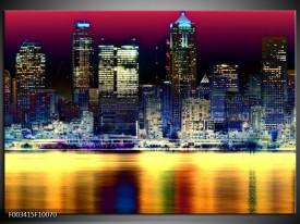 Glas schilderij Steden   Blauw, Geel, Zwart