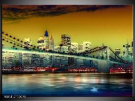 Foto canvas schilderij Steden | Geel, Blauw, Groen