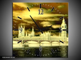 Wandklok op Canvas Londen | Kleur: Geel, Groen, Creme | F003444C