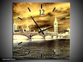 Wandklok op Canvas Londen | Kleur: Geel, Creme, Grijs | F003446C