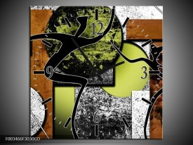 Wandklok op Glas Abstract | Kleur: Bruin, Groen, Zwart | F003466CGD