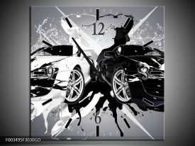 Wandklok op Glas Audi | Kleur: Zwart, Wit, Grijs | F003495CGD