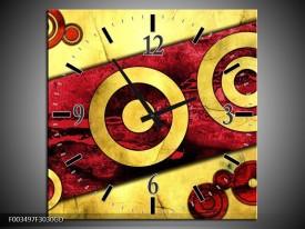 Wandklok op Glas Abstract | Kleur: Rood, Geel, Zwart | F003497CGD