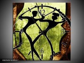 Wandklok op Glas Abstract | Kleur: Groen, Bruin, Zwart | F003505CGD