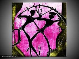 Wandklok op Glas Abstract | Kleur: Roze, Zwart, Groen | F003513CGD