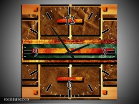 Wandklok op Glas Abstract | Kleur: Bruin, Oranje, Geel | F003515CGD