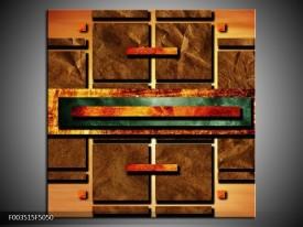 Canvas schilderij Abstract | Bruin, Oranje, Geel | 50x50cm 1Luik