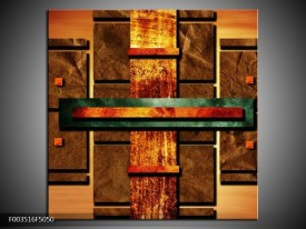 Canvas schilderij Abstract   Bruin, Oranje, Geel   50x50cm 1Luik