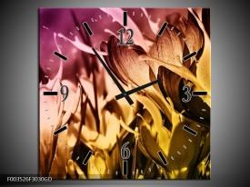 Wandklok op Glas Bloem   Kleur: Bruin, Roze, Geel   F003526CGD
