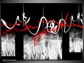 Foto canvas schilderij Abstract   Zwart, Wit, Rood